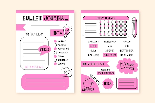 Kreative bullet journal planer vorlage