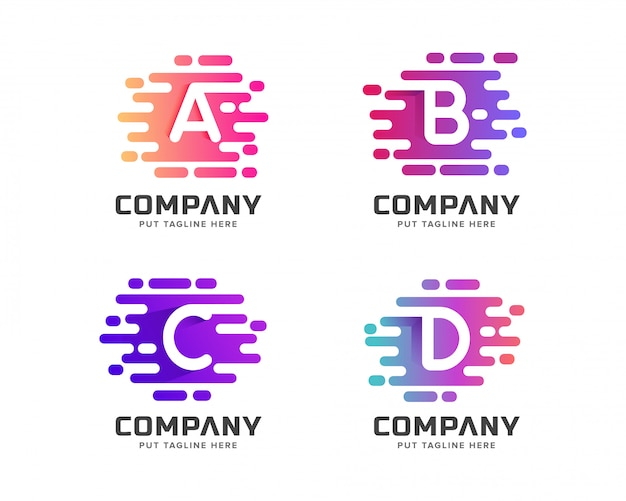 Kreative bunte brief erste logo-sammlung für unternehmen