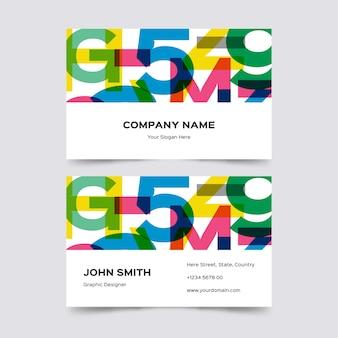 Kreative bunte grafikdesigner-visitenkarteschablone