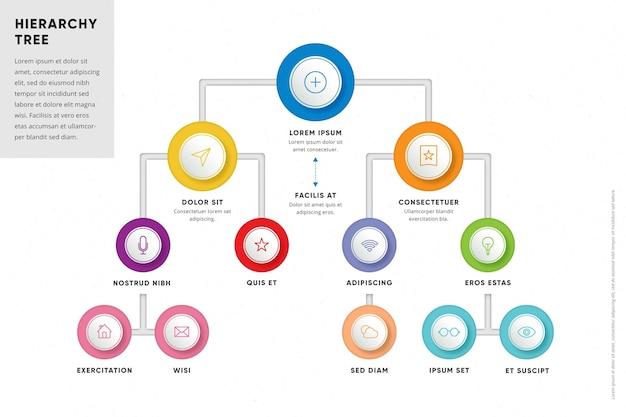Kreative bunte hierarchische infografik