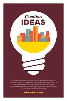 Kreative bunte illustration der glühbirne mit stadt und kopf kreative ideen, text auf braunem hintergrund. kreative idee poster vorlage.