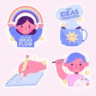 Kreative bunte kreativitätsaufkleber gesetzt