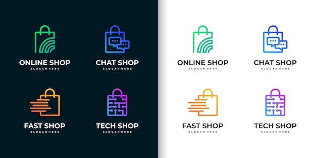 Kreative bunte shopping-logo-sammlung mit strichzeichnungen
