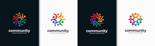 Kreative bunte soziale gruppe logo-set