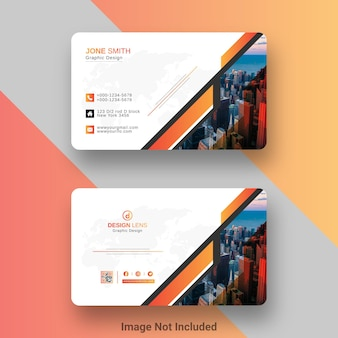 Kreative bunte visitenkarten-vorlage im orangefarbenen und schwarzen stil