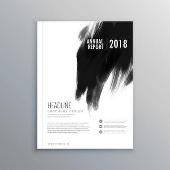 Kreative business-magazin-cover seitenlayout mit schwarzer farbe schlaganfall
