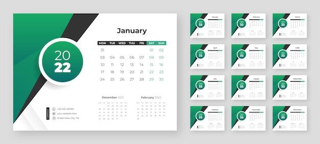 Kreative business-schreibtisch-kalender-designvorlage 2022