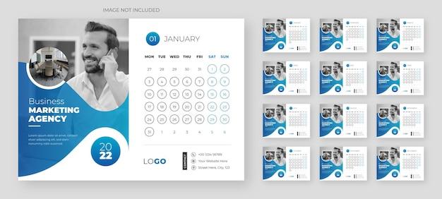 Kreative business-schreibtisch-kalendervorlage für das neue jahr
