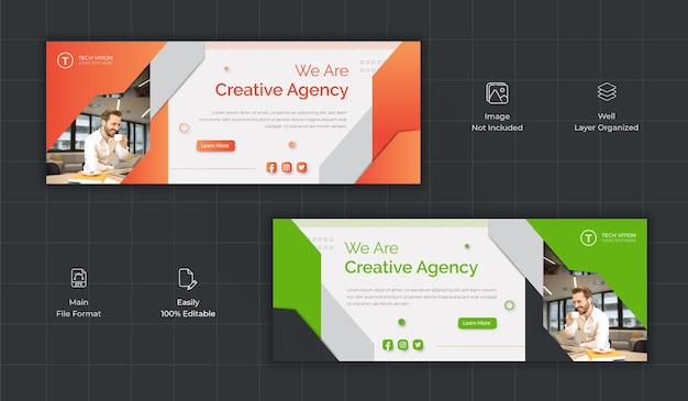 Kreative business social media banner vorlage mit facebook cover Premium Vektoren