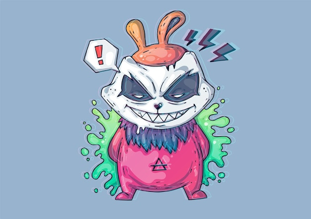 Kreative cartoon-illustration. angry bunny monster