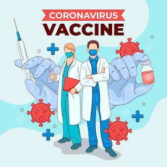 Kreative coronavirus-impfstoffillustration