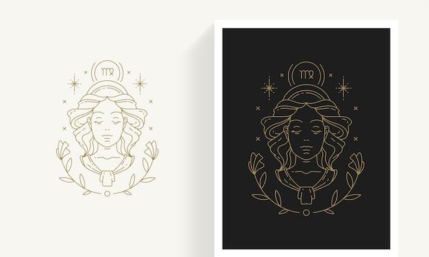 Kreative dekorative elegante lineare astrologie sternzeichen jungfrau emblem vorlage für logo