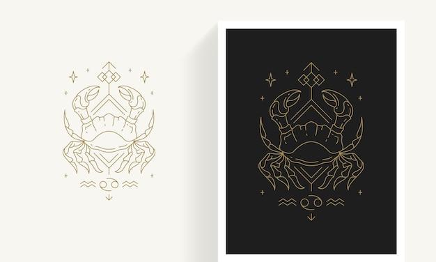 Kreative dekorative elegante lineare astrologie sternzeichen krebs emblem vorlage für logo