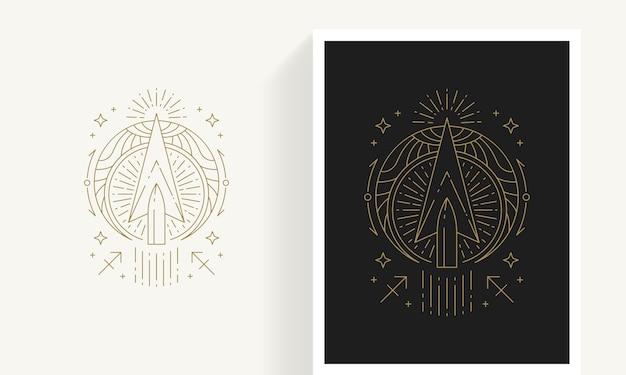 Kreative dekorative elegante lineare astrologie sternzeichen schütze emblem vorlage für logo