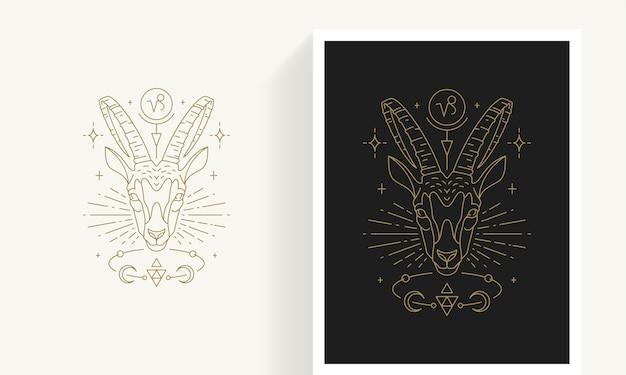 Kreative dekorative elegante lineare astrologie sternzeichen steinbock emblem vorlage für logo