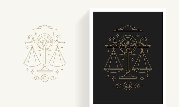 Kreative dekorative elegante lineare astrologie sternzeichen waage emblem vorlage für logo