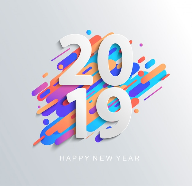 Kreative designkarte des neuen jahres 2019