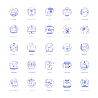 Kreative designlinie icons set