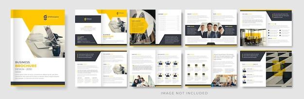 Kreative designvorlage für unternehmensbroschüren in gelb und schwarz