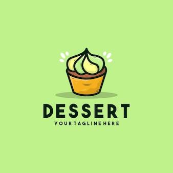 Kreative dessertbecher-kuchenikonen-logoillustration