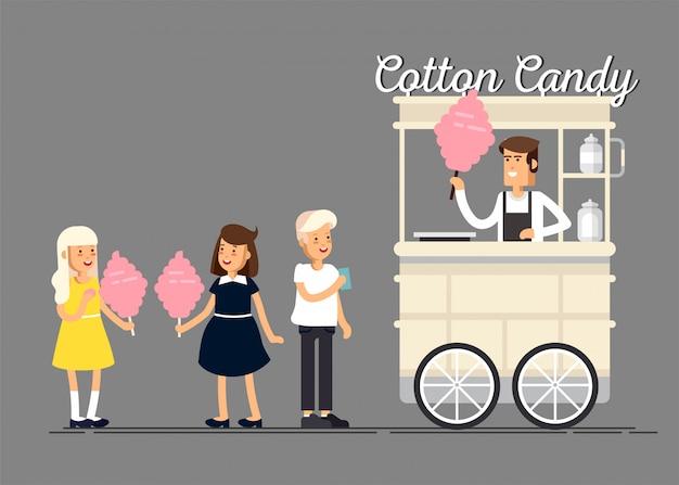 Kreative detaillierte straße zuckerwatte wagen oder shop mit swetness und mit verkäufer. kinder kaufen und essen zuckerwatte.