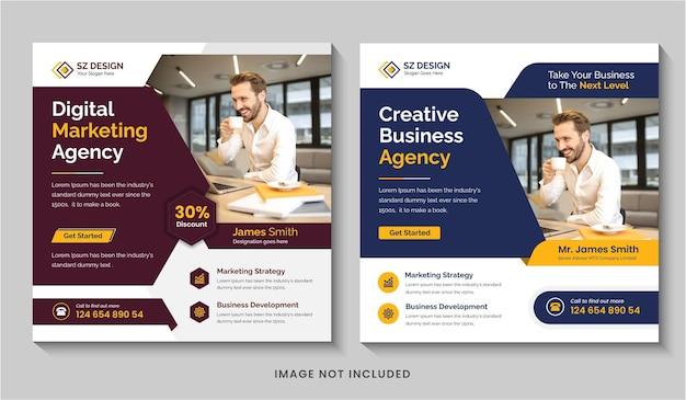 Kreative digitale marketingagentur social media post design vorlage quadratischer flyer oder bearbeitbares web-banner
