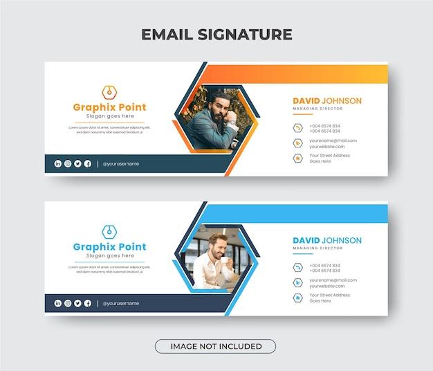 Kreative e-mail-signatur-designvorlage oder e-mail-fußzeile premium-vektor