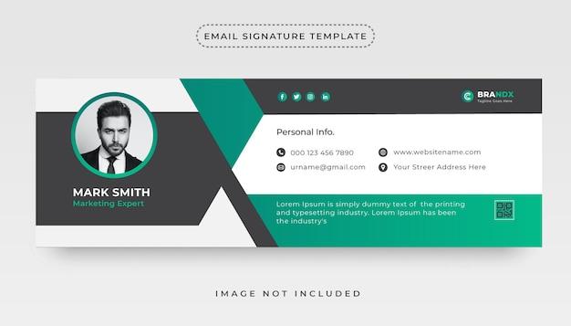 Kreative e-mail-signaturvorlage oder e-mail-fußzeile und social-cover-design