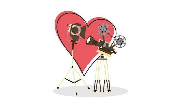 Kreative einfache logoillustration des liebesfilmherz-kinofilms