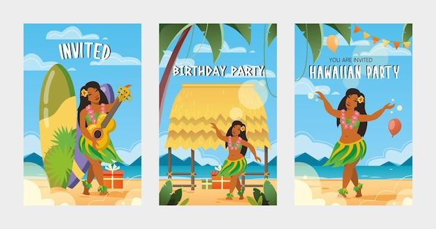 Kreative einladungen zur hawaiianischen parteivektorillustration. traditionelle hawaii-elemente