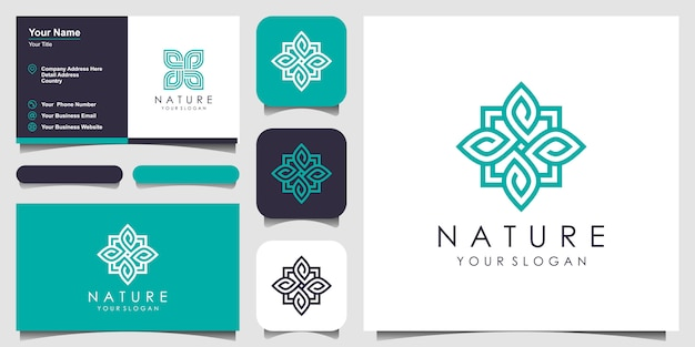 Kreative elegante blumenrose mit blattelementlogo und visitenkarte. logo für schönheit, kosmetik, yoga und spa.