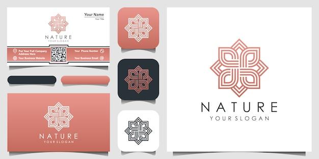 Kreative elegante blumenrose mit blattelementlogodesign und visitenkarte. logo für schönheit, kosmetik, yoga und spa.