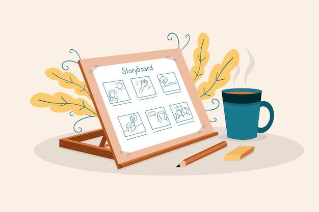 Kreative elemente für das storyboard-konzept