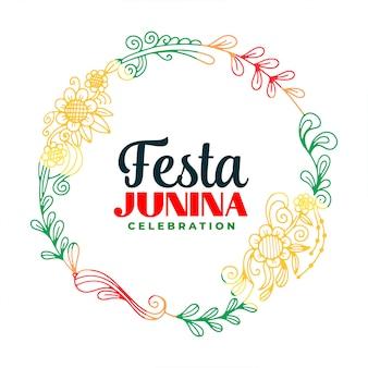 Kreative festa junina blätter und blumenrahmenhintergrund