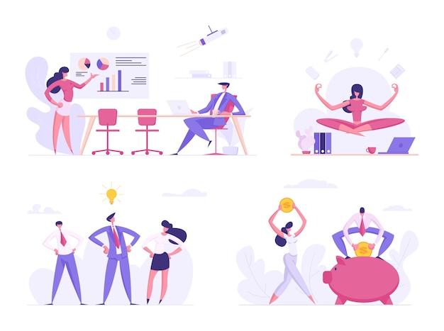 Kreative, finanzielle geschäftserfolgskonzept-set-flache illustration
