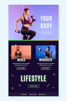 Kreative fitness-e-mail-vorlage mit foto