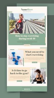 Kreative fitness-e-mail-vorlage mit fotos