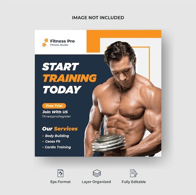 Kreative fitness-studio-quadrat-flyer-vorlage oder social-media-post-banner-design premium-vektor
