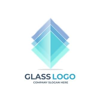 Kreative flache design-glas-logo-vorlage