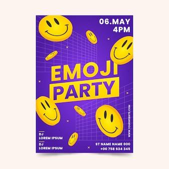 Kreative flache design-säure-emoji-druckschablone
