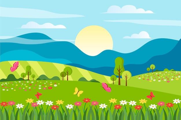 Kreative flache designfrühlingslandschaft mit blauem himmel