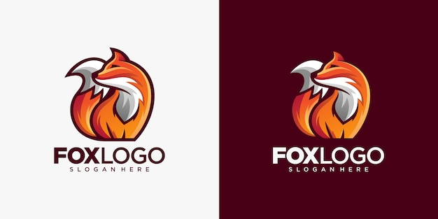 Kreative fox animal modern simple design illustration