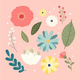 Kreative frühlingsblumensammlung
