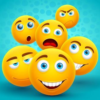 Kreative gelbe emoji ikonen des glücks und der freundschaft