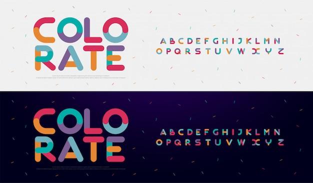 Kreative gerundete alphabetfarbschrifttypen des modernen gusses
