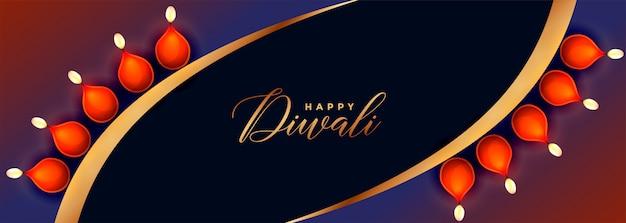 Kreative glückliche diwali festivalfahne mit diya dekoration