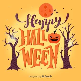 Kreative glückliche halloween-schriftzug