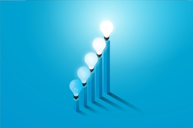 Kreative glühbirne mit grafik, die auf blauem hintergrund wächst, illustrationsvektor