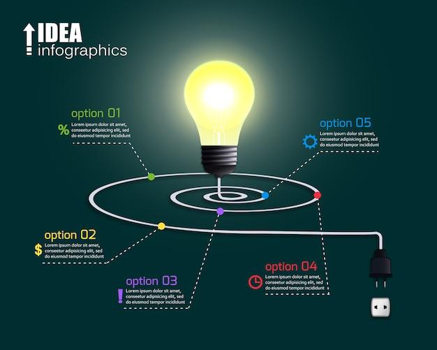 Kreative glühbirne mit optionen