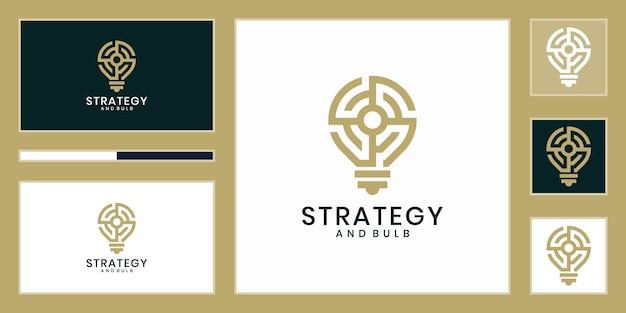 Kreative glühbirne mit strategiekonzept, design. strategieidee logo design. idee kreatives glühbirnenlogo. glühbirne digitale logo-technologie idee